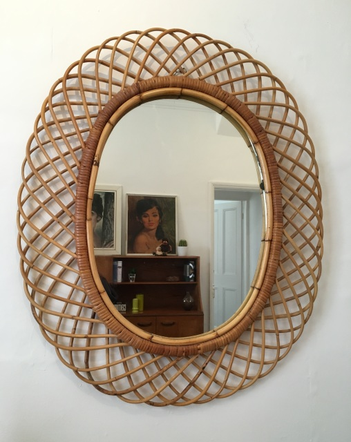 Large vintage 1960s wicker frame oval wall mirror for Mirror 80cm wide