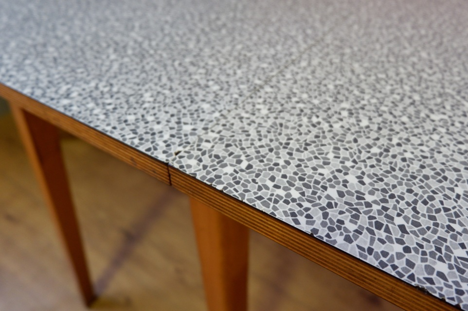 Vintage Grey And White Formica Drop Leaf Dining Table