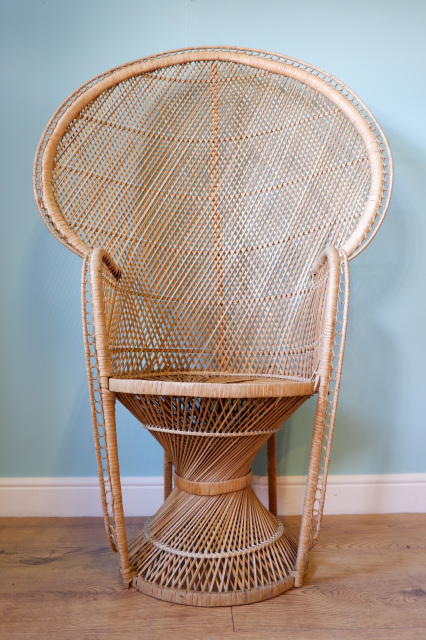 Vintage 1970s Wicker Peacock Chair