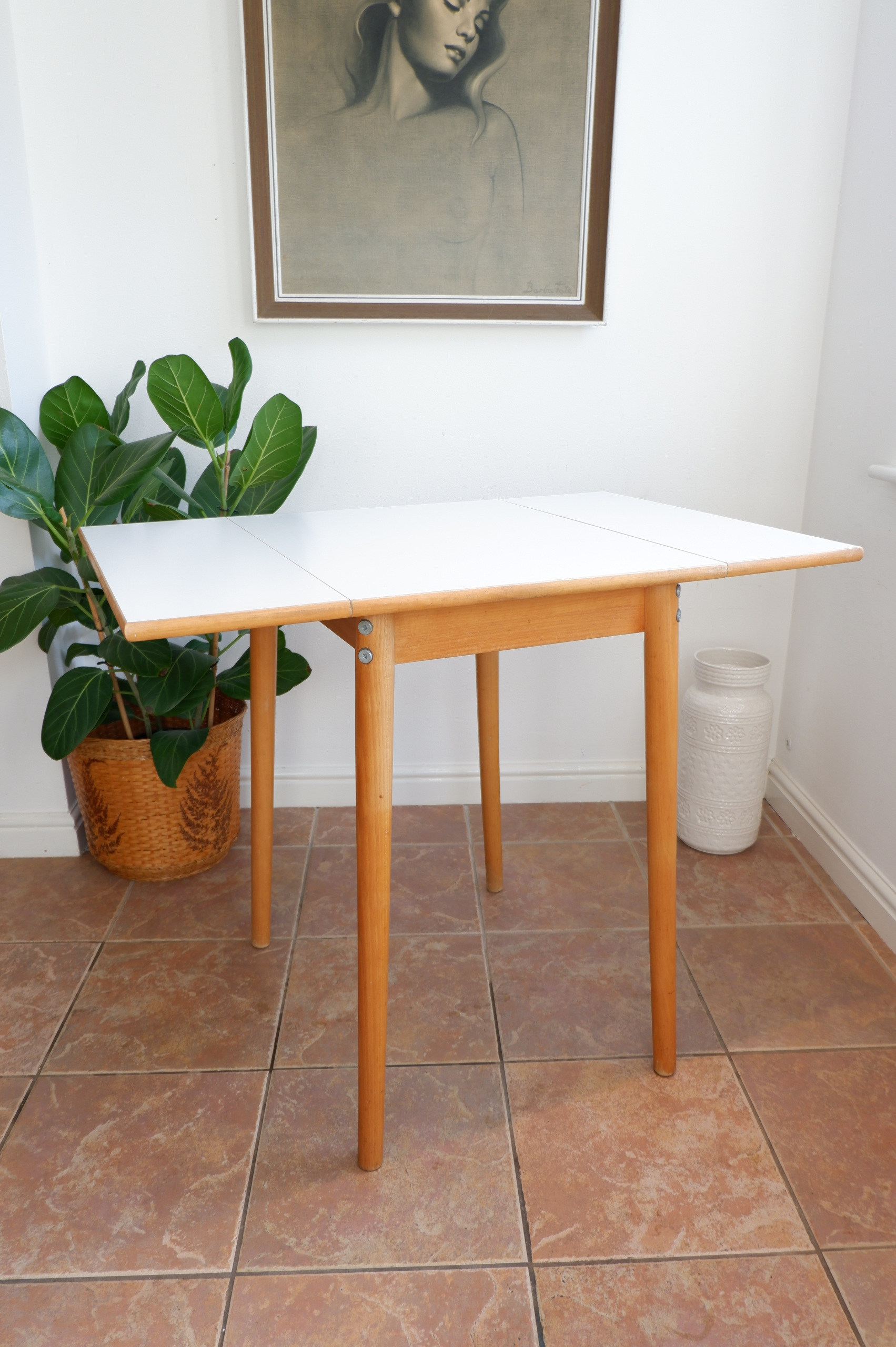 Vintage White Formica Drop Leaf Dining Table