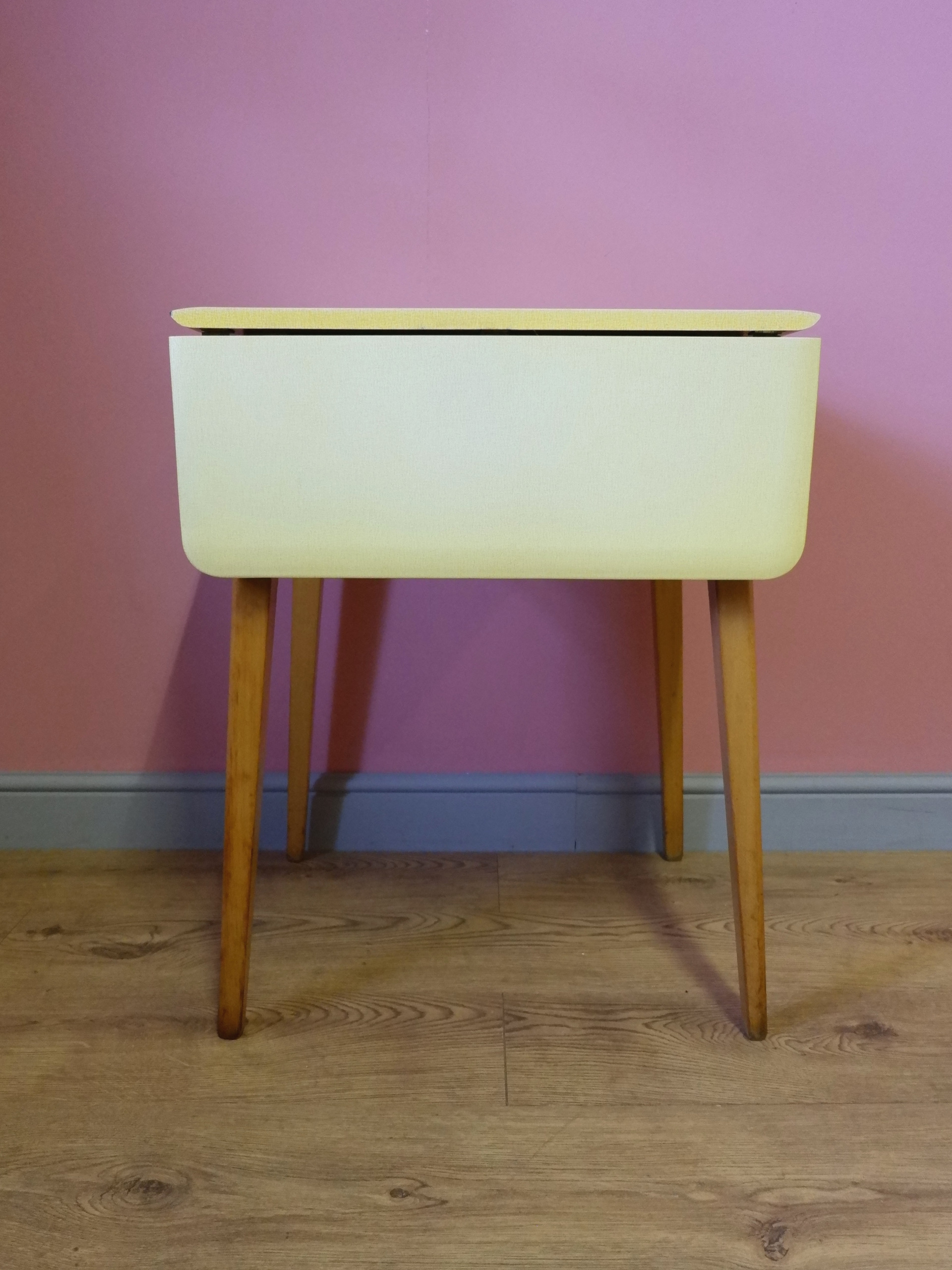Vintage Yellow Formica Drop Leaf Dining Table